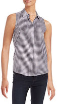 Context Gingham Button-Down Blouse