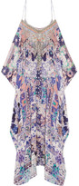 Camilla Cold-shoulder Embellished Printed Silk Kaftan - Purple