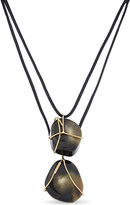 Sportmax Two stone pendant leather necklace