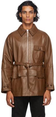 Maison Margiela Brown Leather Half-Zip Jacket