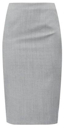 Alexander McQueen High-rise Herringbone-wool Pencil Skirt - Womens - Black White