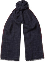 Brunello Cucinelli - Checked Silk And Linen-blend Scarf