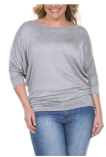 White Mark Plus Size Bat Sleeve Top/Tunic