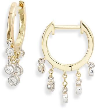 Meira T Diamond Fringe Hoop Earrings