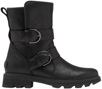 Sorel Lennox Shearling-Lined Leather Moto Boots