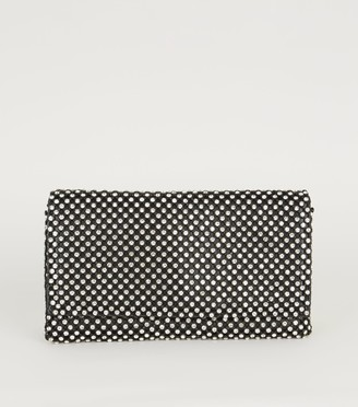 New Look Diamante Embellished Foldover Clutch