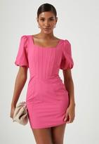 Missguided Fuchsia Puff Sleeve Corset Detail Mini Dress