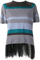 Kolor striped mesh trim top - women - Cotton/Nylon/Cupro/Polyester - 3