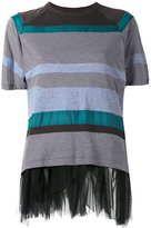 Kolor striped mesh trim top - women - Cotton/Nylon/Polyester/Cupro - 3