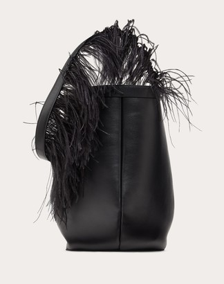 Valentino Calfskin Hobo Bag With Feather Shoulder Strap Women Black 100% Pelle Di Vitello - Bos Taurus OneSize