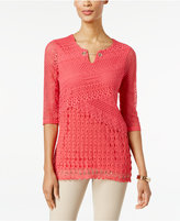 JM Collection Petite Crochet Keyhole Tunic, Created for Macy's
