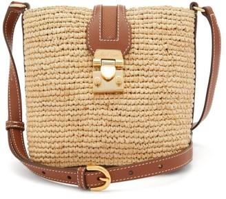 Mark Cross Murphy Mini Leather And Raffia Cross-body Bag - Brown Multi