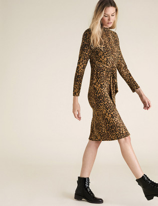 Marks and Spencer Animal Print Belted Midi Shift Dress