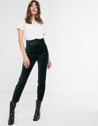 And other stories & velvet slim pants with matching belt in bottle green