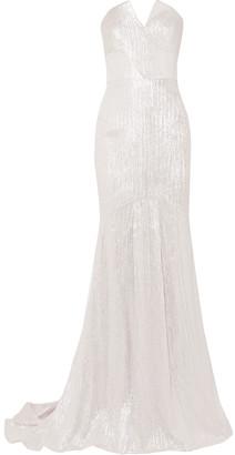 Roland Mouret Strapless Metallic Jacquard Gown
