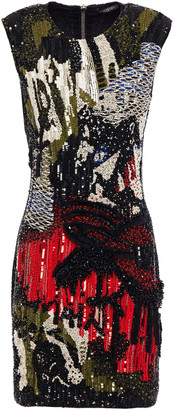 Balmain Bead And Sequin-embellished Stretch-tulle Mini Dress