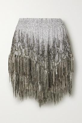 Isabel Marant Zulina Fringed Embellished Metallic Silk-blend Mini Skirt - Silver