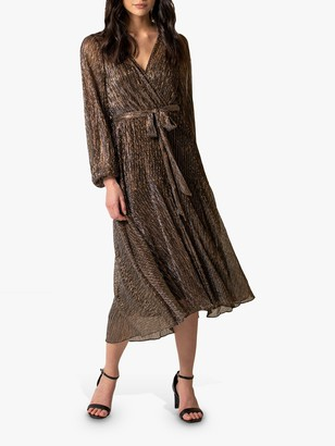 Forever New Jemima Metallic Midi Dress, Black/Gold