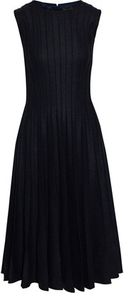 Oscar de la Renta Pleated Wool-blend Midi Dress