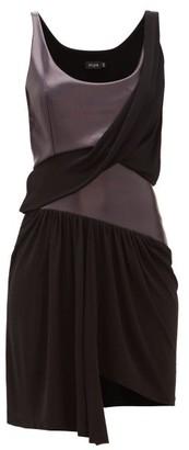 Atlein - Draped Coated Jersey Mini Dress - Black Navy