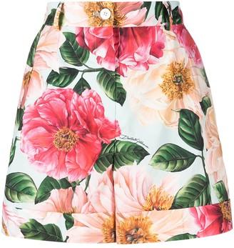 Dolce & Gabbana Floral-Print High-Waist Shorts
