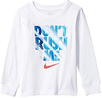 Nike Kids Nike Don't Rush Me Logo Graphic Long Sleeve T-Shirt (Toddler/Little Kids) (White) Boy's Clothing
