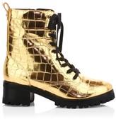 Schutz Zumira Metallic Croc-Embossed Leather Combat Boots
