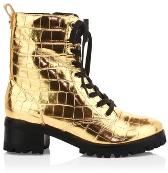 Schutz Zumira Metallic Croc-Embossed Leather Combat Boots