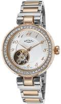 Rotary Lb001-A-22 Women's Auto Two-Tone Stainless Steel -Tone Dial Rose-Tone Ss Watch