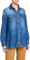 RED Valentino Pleated Back Button-Down Denim Shirt