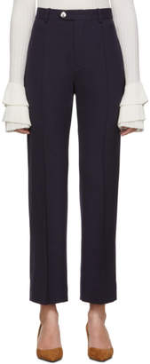 Chloé Navy Stretch Wool Straight Trousers