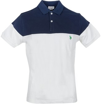 U.S. Polo Assn. Blue & White Pique Cotton Men's Polo Shirt