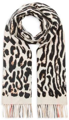 Burberry Leopard Print & Check Cashmere Scarf