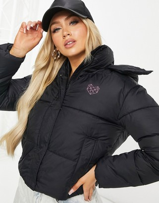 Pink Soda Sport Lax padded jacket in black