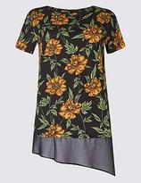 Per Una Cotton Blend Floral Print T-Shirt