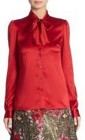 Dolce & Gabbana Satin Tie-Neck Blouse