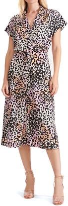 Veronica Beard Amani Leopard Print Stretch Silk Midi Shirtdress