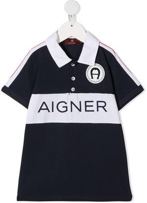 Aigner Kids Logo Print Polo Shirt