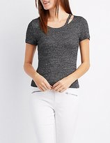 Charlotte Russe Ribbed Cut-Out Neck Tee