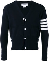 Thom Browne Trompe L'oeil V-Neck Cardigan With Milano Stitch And 4-Bar Stripe In Navy Cotton