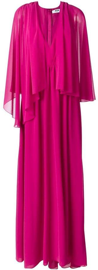 MSGM tulle pleated cape dress