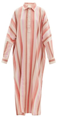 Marrakshi Life - Striped Cotton-blend Tunic Shirt Dress - Pink Stripe