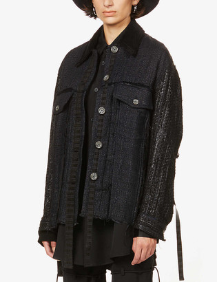 Song For The Mute Graphic-print contrast-panel boucle jacket