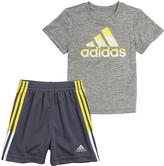 adidas Boys' Active Shorts GREY/GREY - Gray & Charcoal Tee & Shorts - Toddler & Boys