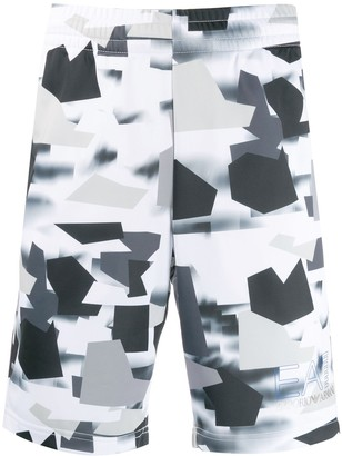 EA7 Emporio Armani Camouflage Printed Track Shorts