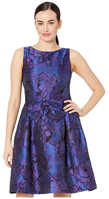 Tahari ASL Sleeveless Bow Front Printed Jacquard Party Dress (Purple Royal Floral) Women's Dress