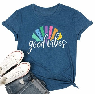 Vilove Women T Shirt Letter Printed Summer Tee Top Loose Casual Graphic Short Sleeve Cotton Crew Round Neck Good Vibes T Shirt