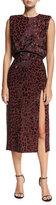 Michael Kors Embellished Leopard Sheath Dress, Dark Red