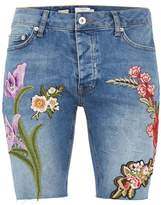 Topman Mid Wash Floral Embroidery Denim Shorts