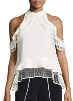 Jonathan Simkhai Window Pane Ruffle Cold Shoulder Top